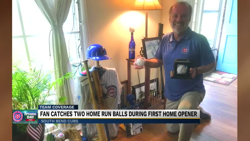 Fan catches two home run balls during first South Bend Cubs opener